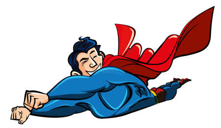 billowing: Cartoon superman flying with his cape billowing behind. Isolated on white Illustration