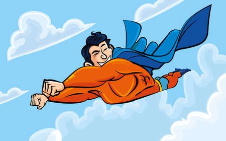 Cartoon superman flying with his cape billowing behind. Vector