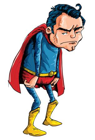 heroes: Cartoon of a depressed aging superman isolated on white