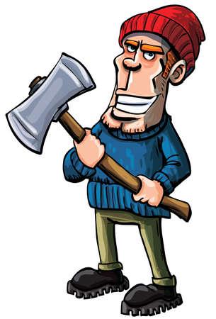 logs: Cartoon lumberjack holding an axe.Isolated on white