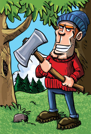 Cartoon lumberjack holding an axe. A forest background Vector
