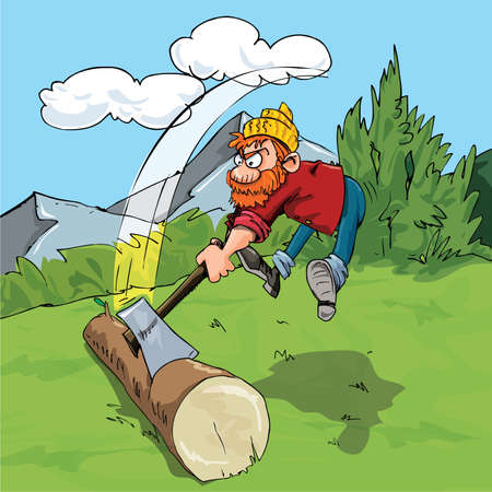 cutters: Cartoon lumberjack chopping a huge log. Forest as a background