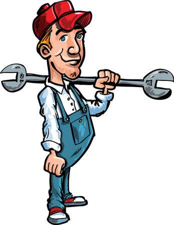 klempner: Cartoon Klempner holding isoliert auf weiss Werkzeug