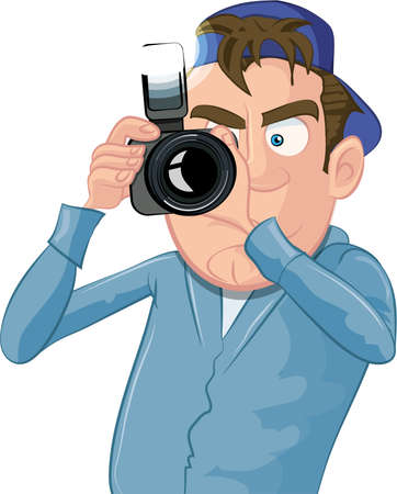 Cartoon paparazzi with a camera isolated on white Illustration