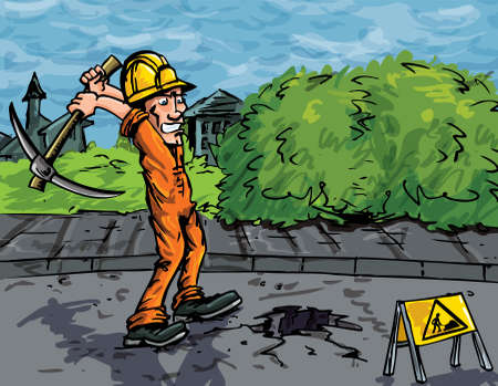labourer: Cartoon of labourer using a pick axe to dig a hole in the road