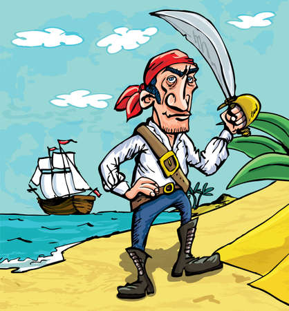 �back ground�: Cartoon pirate on a beach. His boat can be seen in the back ground Illustration