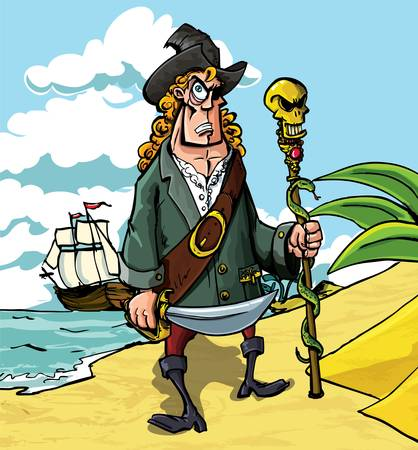 Cartoon pirate on a beach. His boat can be seen in the back ground Vector