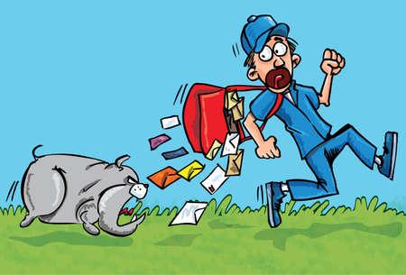 perro corriendo: Cartero de dibujos animados huyendo de un perro. Él está disminuyendo sus cartas Vectores