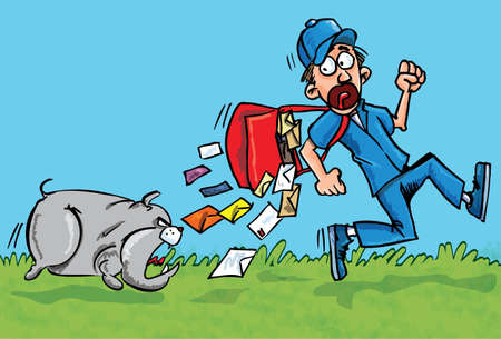 Cartoon postman running away from a dog. He is dropping his letters