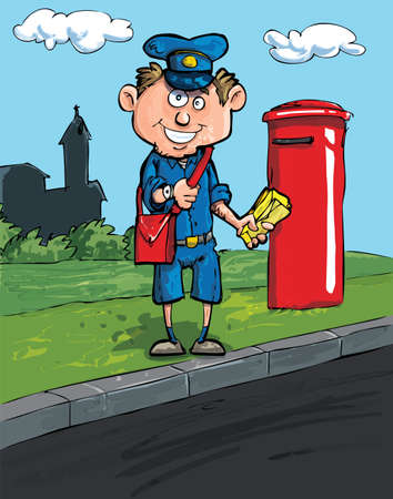 postman: Cartoon postman by a mailbox on a street with some buildings in the distance