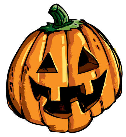 carved pumpkin: Cartoon of smiling halloween carved pumpkin isolated on white Illustration