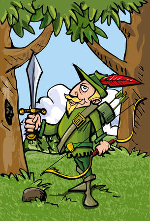 Cartoon Robin Hood in the woods.He has a sword Vector