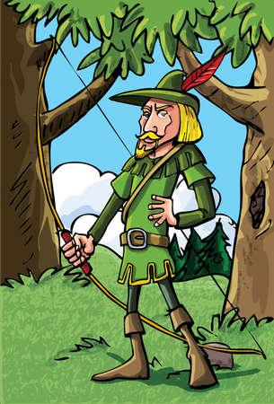 Cartoon Robin Hood in het bos.Hij heeft een pijl en boog pijlkoker vol met pijlen