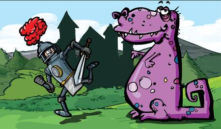 �back ground�: Cartoon of a knight running from a dragon. A castle in the back ground