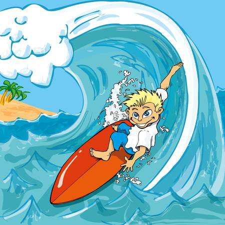cartoon surfing: Cartoon boy surfing a wave in the sea Illustration