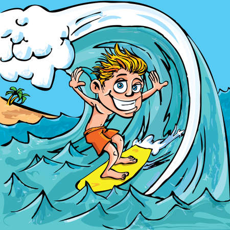 Cartoon boy surfing a wave in the sea Vector