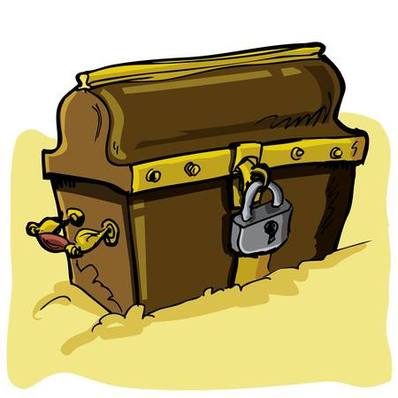 Cartoon illustration of a pirate chest isolated on white Vector