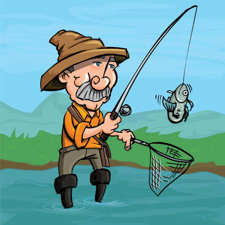 Cartoon fisherman catching a fish. He is standng in a river