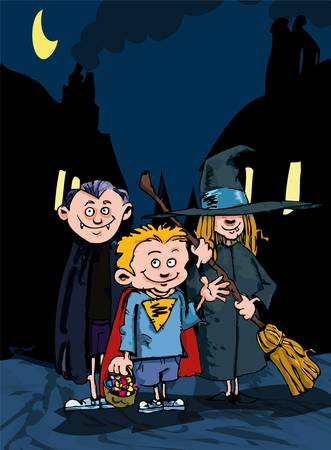 treating: Cartoon children trick or treating at night with a moon in the sky
