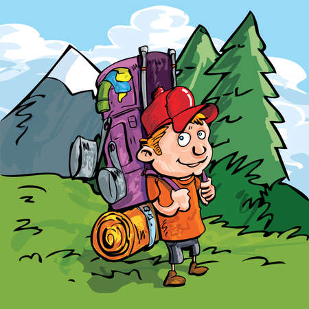 trek: Cartoon Hiker in the forest with blue skies and a mountain behind Illustration