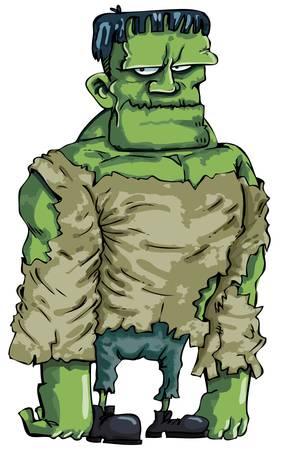 Cartoon green Frankenstein monster isolated on white Stock Vector - 9290253