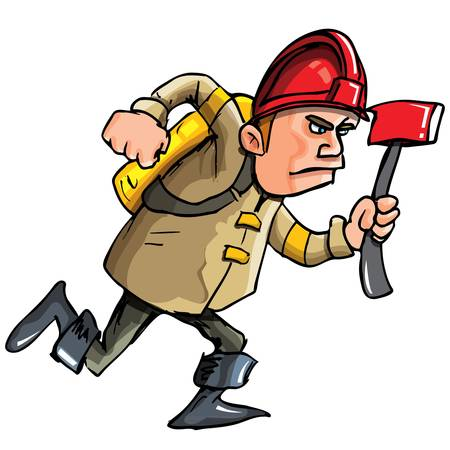 Cartoon fireman running with an axe. Isolated on white Vector