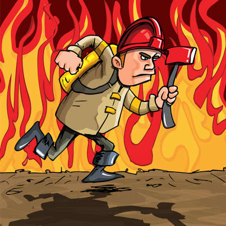 Cartoon fireman running. Flames in the background Vector