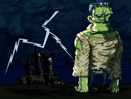 awkward: Monstruo de Frankenstein de dibujos animados en una escena de la noche. Un rayo en segundo plano Vectores