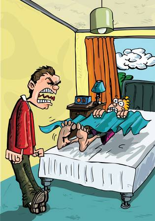 Cartoon of parent screaming for his son to get out of bed. Stock Vector - 9290252