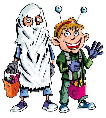 fearsome: Cartoon of halloween children dressed as a ghost and alien