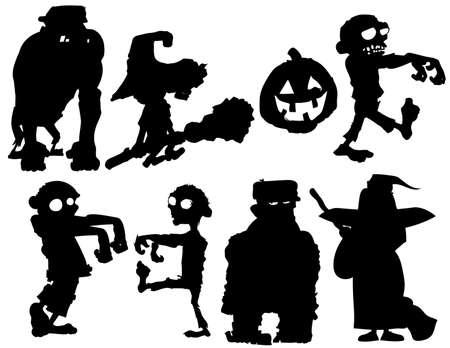 Conjunto de silueta de personajes de Halloween aislados en blanco