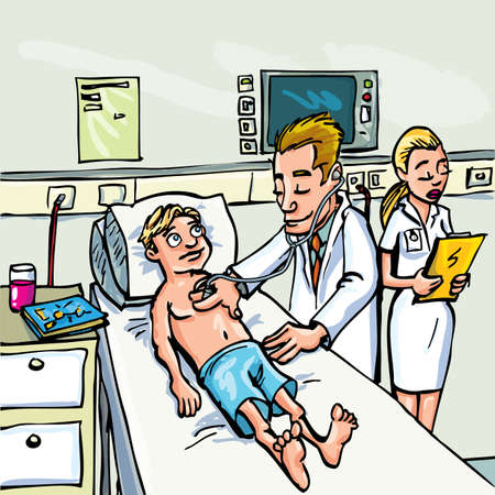 Cartoon doctor attending a young patient in a hospital room. Vector