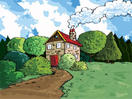 House in the country with trees and mountains in the background Vector