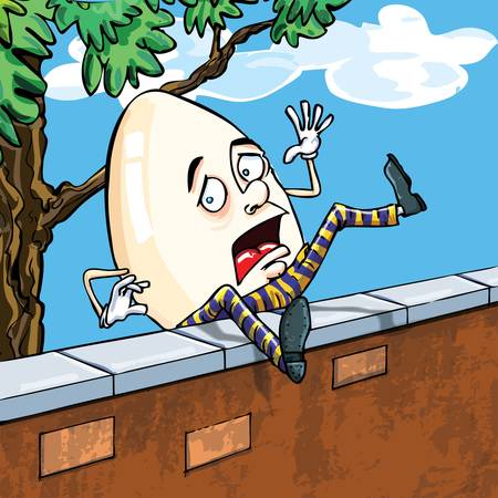 crack: Humpty dumpty falling of the wall with the sky and clouds behind