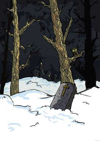 gruselig: Creepy B�ume in einem Friedhof im Schnee in der Nacht
