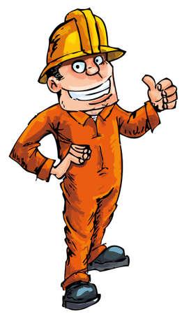 cartoon worker: Trabajador de dibujos animados en un sombrero duro mostrando un pulgares