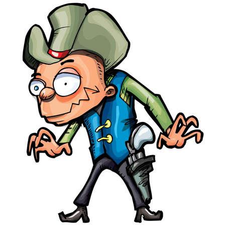 gunslinger: Cartoon cowboy with a gun belt. Isolated on white