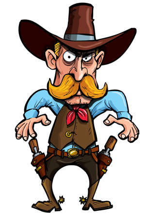 Cartoon cowboy with a gun belt. Isolated on white Stock Vector - 9290242