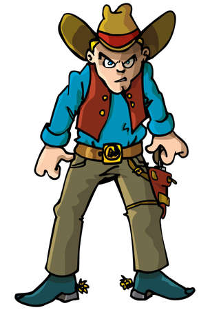cowboy gun: Cartoon cowboy with a gun belt. Isolated on white