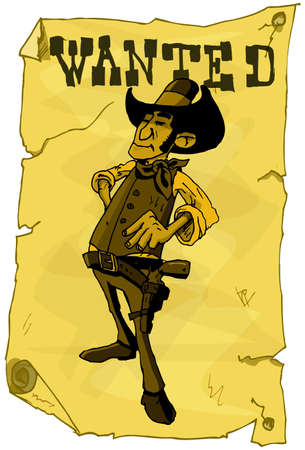 Cartoon wanted poster of a cowboy. Yellowed with age Vector