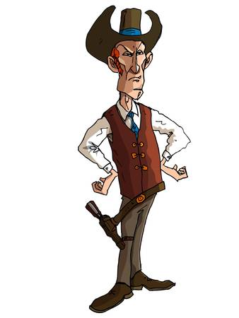 Cartoon cowboy with a gun belt. Isolated on white Stock Vector - 9290202