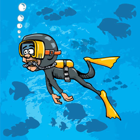 Cartoon diver swimming underwater. Blue sea behind him with fish