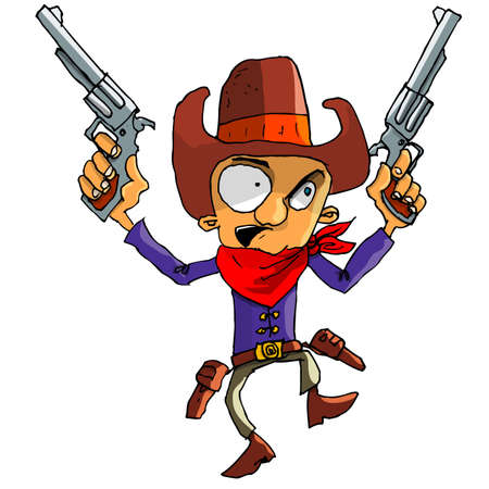 Cartoon cowboy with a gun belt. Isolated on white Stock Vector - 9290207