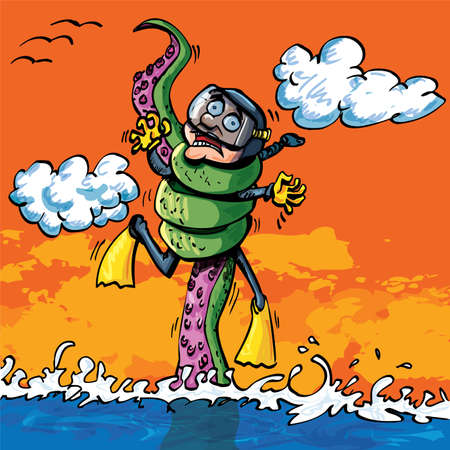 촉수: Cartoon diver attacked by tentacle coming out of the water 일러스트