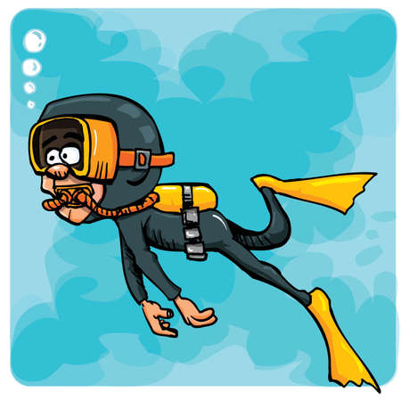 Cartoon diver swimming underwater. Blue sea behind him Vector