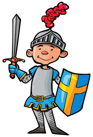 cartoon knight: Cartoon knight in armour with a sword. He is isolated on white