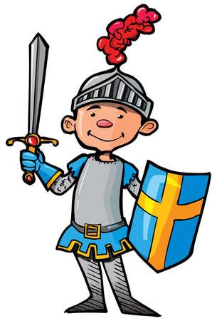 ritter: Cartoon Ritter in der R�stung mit einem Schwert. Er ist isoliert auf wei�