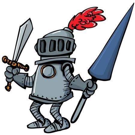 ナイト: 槍と鎧を着た騎士漫画。彼は白で隔離されます。