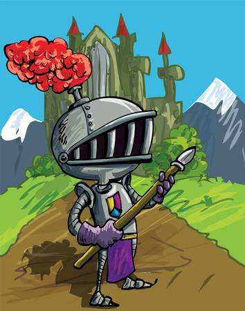 Cartoon knight in armour with a spear. He is in a field in front of a castle Vector