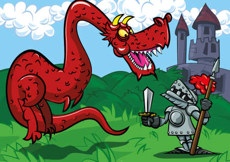 Cartoon knight facing a big red dragon. A castle in the back ground Vector
